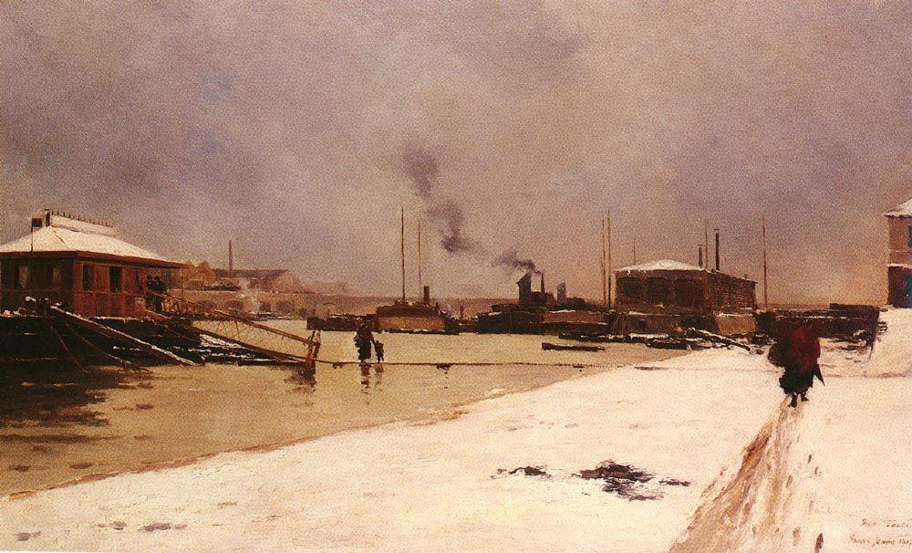 Bas Port Du Pont De Tolbiac by Pierre Louis Leger Vauthier