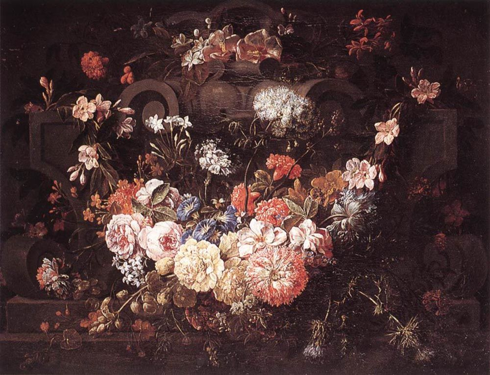 Cartouche with Flowers by Gaspar Peeter de Verbruggen II
