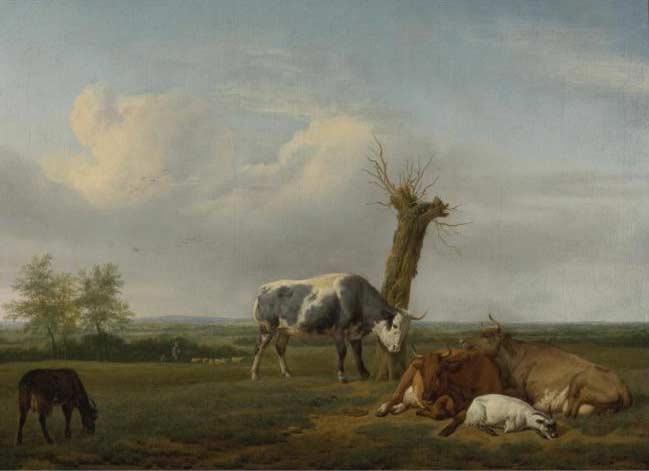 Cattle and Goats by a Pollard Tree in a Meadow Shepherd Boys Approaching Beyond by Adriaen van de Velde