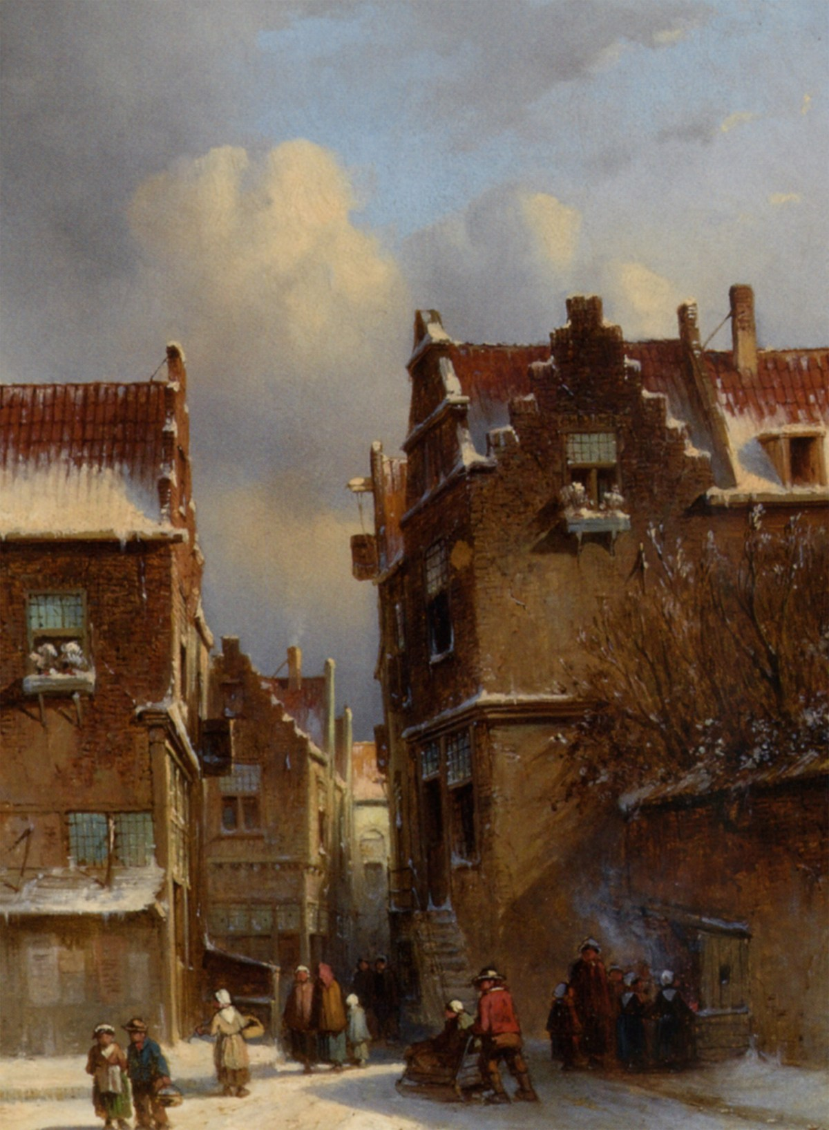Figures Buying Chestnuts at a Stall in a Wintry Town by Pieter Gerard Vertin
