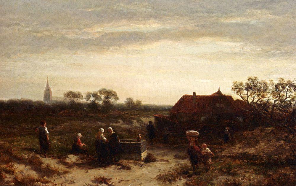 Figures In The Dunes Near Scheveningen by Salomon Leonardus Verveer