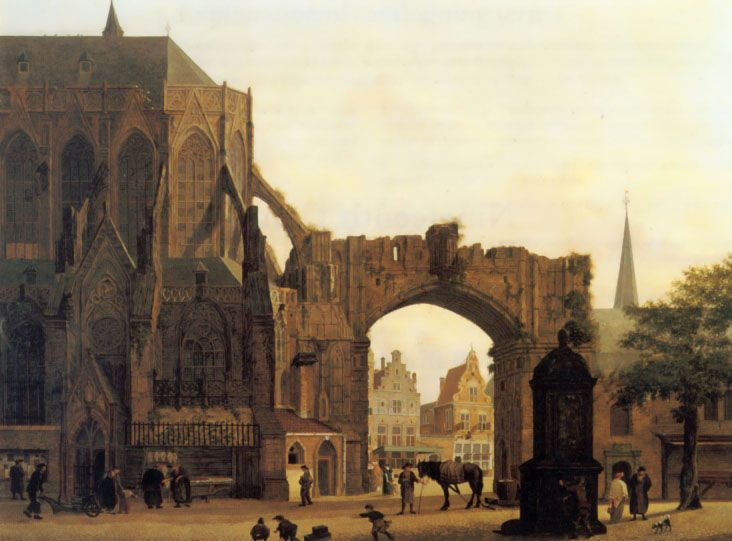 Figures Near a Church by Jules Verheyen
