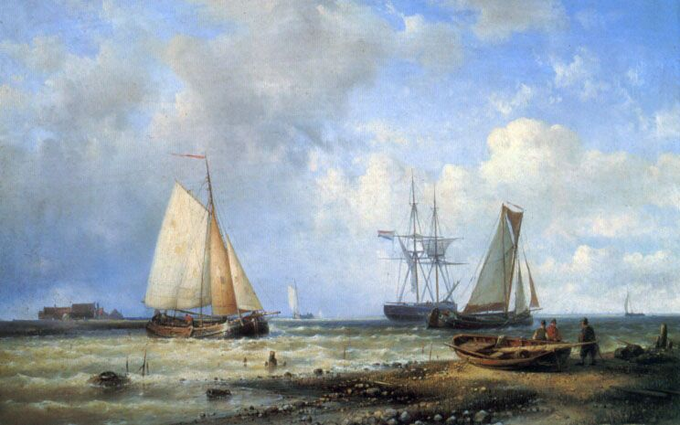 Fishing Vessels by the Shore by Louis Verboeckhoven