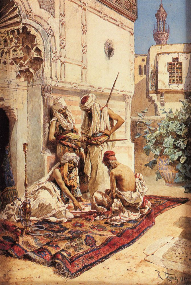Four Arab Playing a Game of Chance by Ramon Tusquets y Maignon