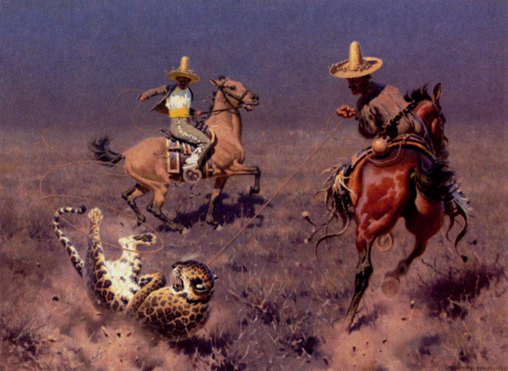 Gauchos and Leopard by Hugo Ungewitter