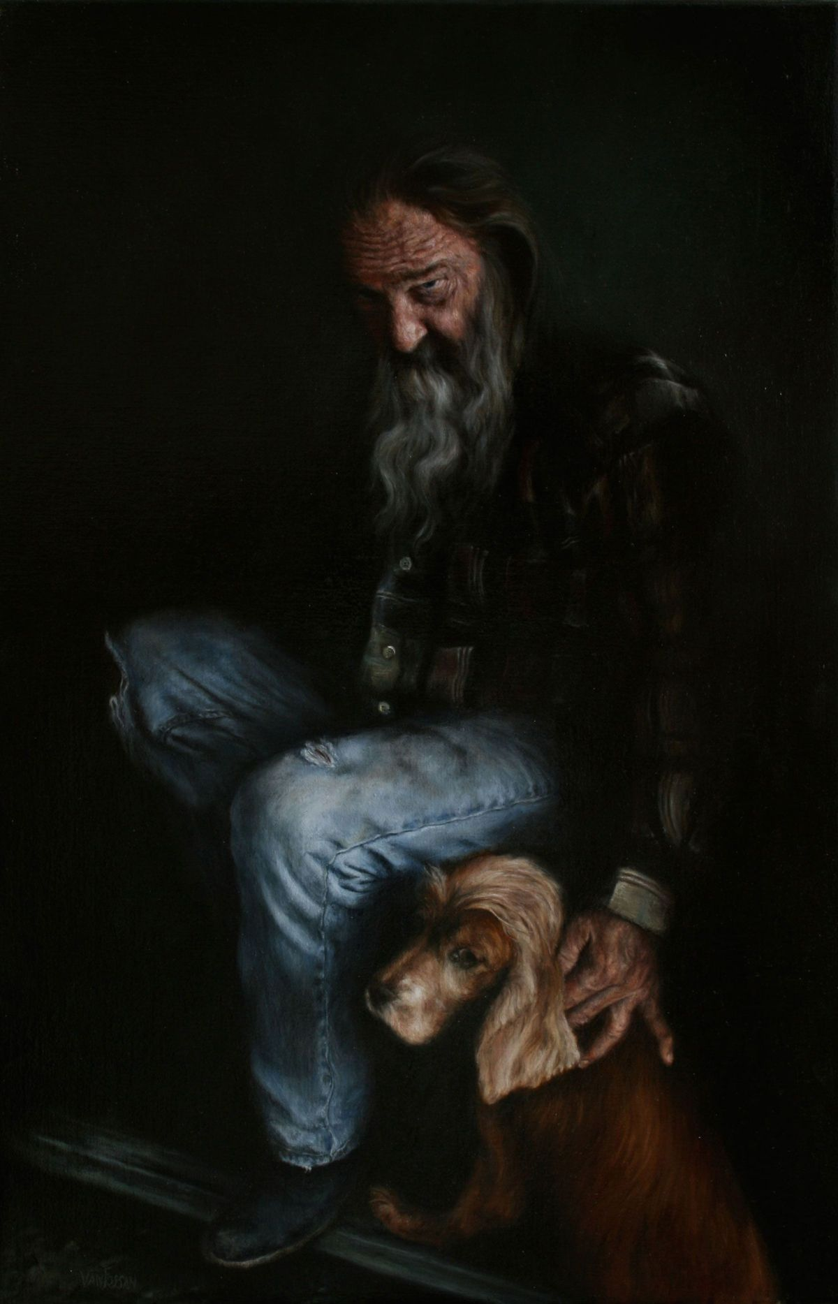 Old Man and His Dog by James Van Fossan