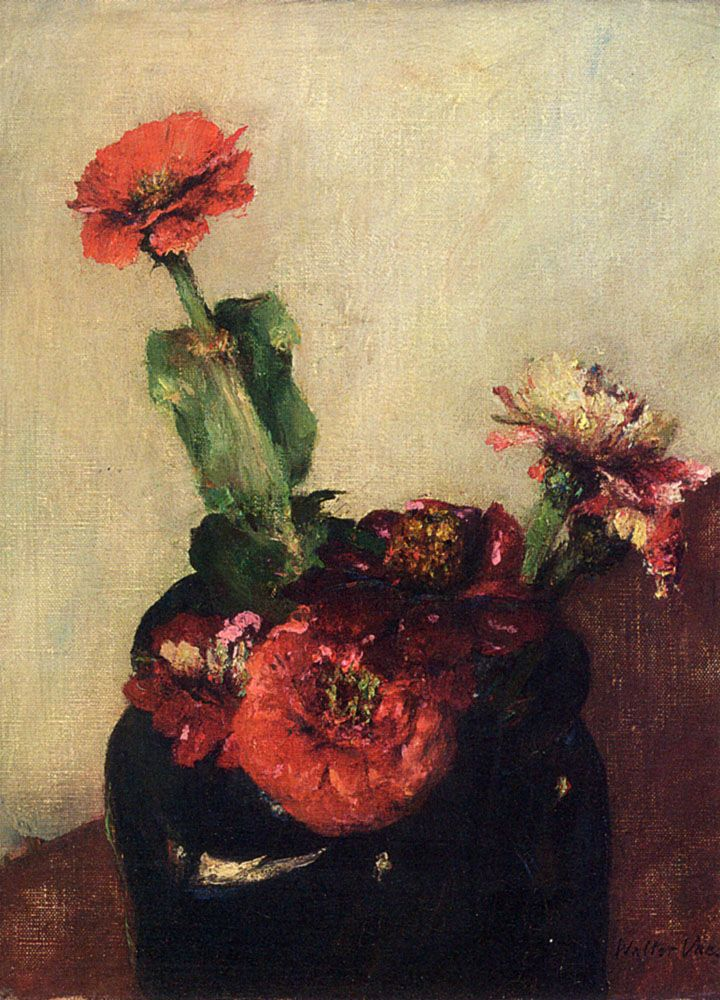 Red Flowers In A Vase by Walter Vaes