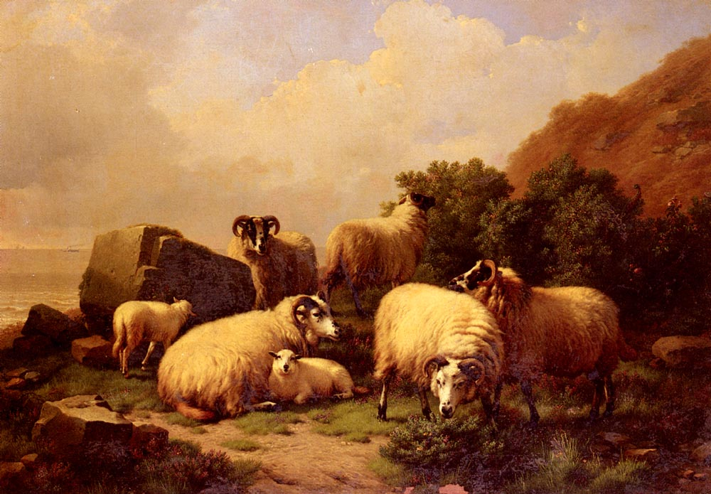 Sheep Grazing By The Coast by Eugene Verboeckhoven