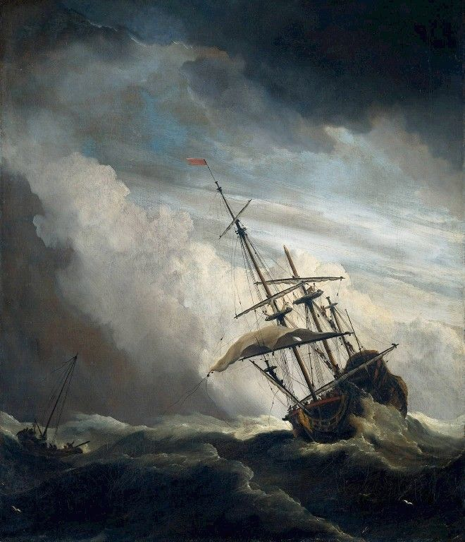 Ship in High Seas Caught by a Squall by Willem van de Velde the Younger