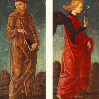 St Francis of Assisi and Announcing Angel (panels of a polyptych) by Cosme Tura