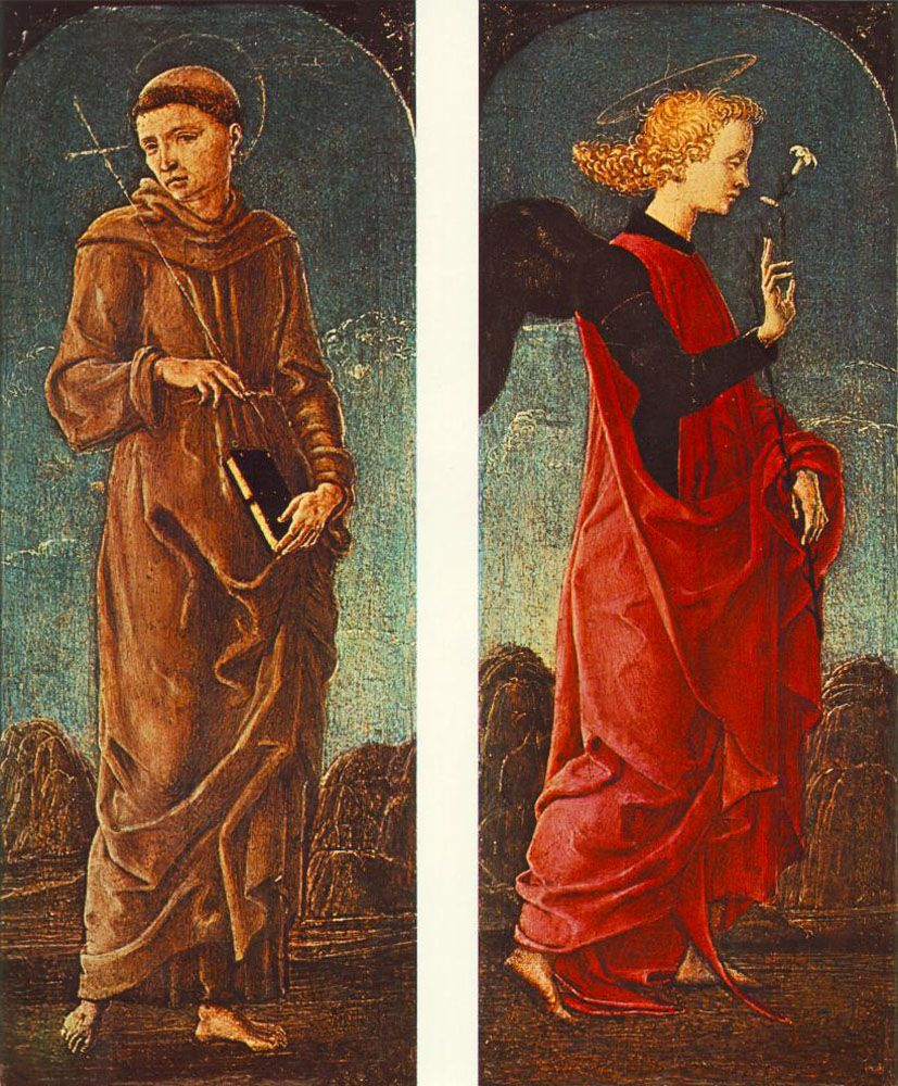 St Francis of Assisi and Announcing Angel panels of a polyptych by Cosme Tura