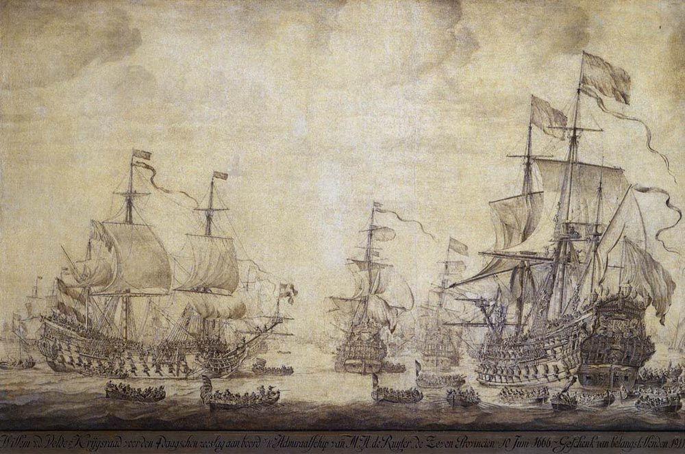 The Council of War on Board De Zeven Provincien the Flagship of Michiel Adriaensz de Ruyter on 10 June 1666 by Willem van de Velde the Elder