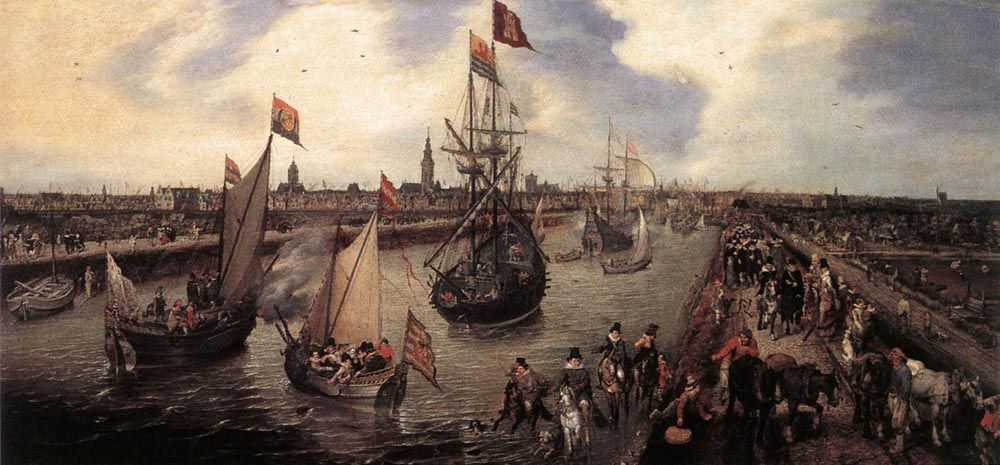 The Harbour of Middelburg by Adriaen Pietersz van de Venne