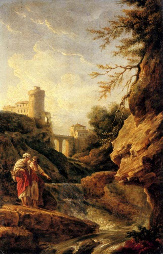 Two female peasants by a waterfall a town and aqueduct beyond by Claude Joseph Vernet
