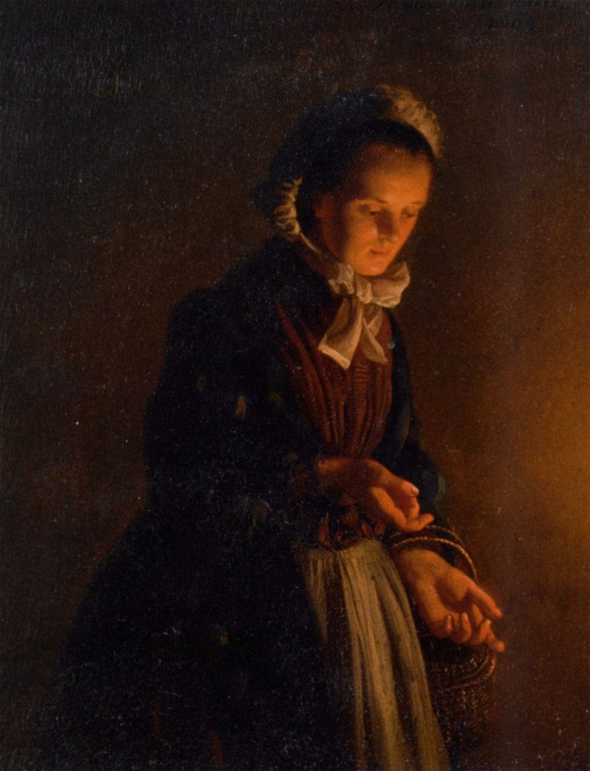 A Servant Girl by Candle Light by Petrus Van Schendel