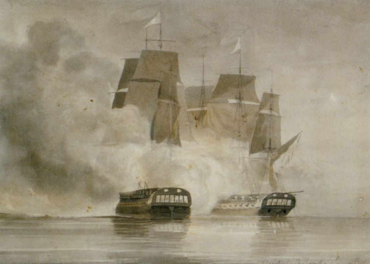 A drawn battle between the French frigate Arethuse and the British frigate Amelia by John Christian Schetky