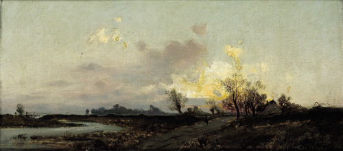 An extensive landscape in evening twilight by Emil Jakob Schindler