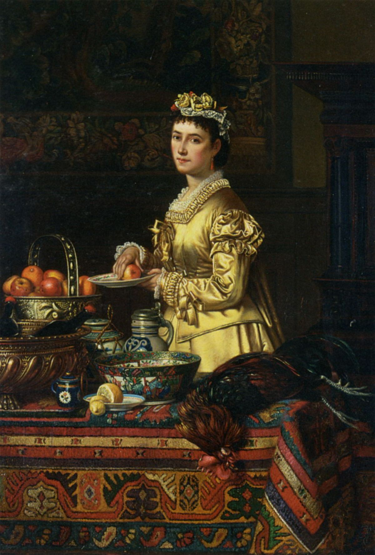 An interior with an elegent lady standing by a kitchen by Jean-Daniel Stevens