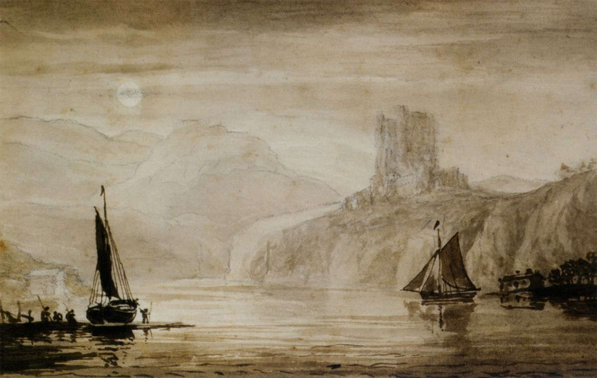 Boats on the river Tweed by John Christian Schetky