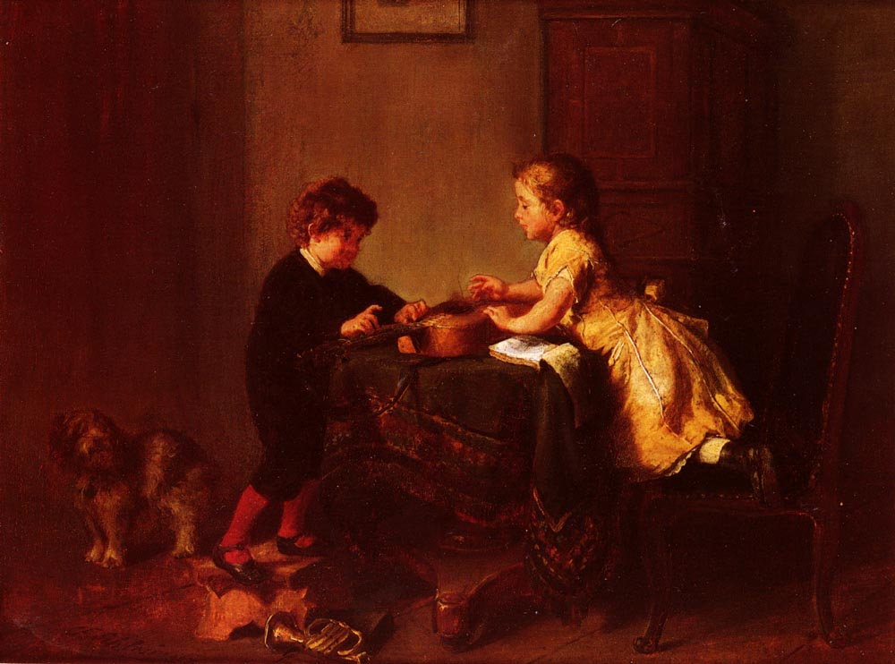 Children Playing with a Guitar by Felix Schlesinger
