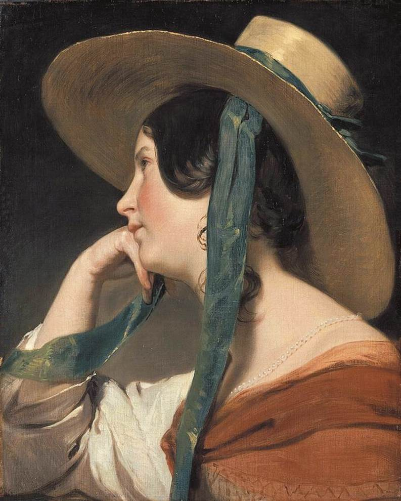 Maiden with a Straw Hat by Friedrich von Amerling