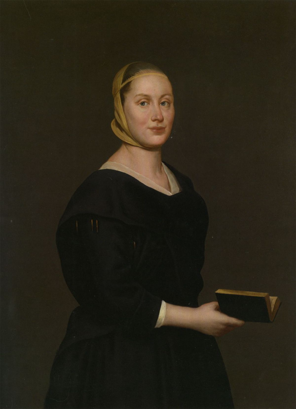 Portrait of Donna Alba Regina del Ferro  three quarter length in a black dress holding a book by Giacomo Ceruti