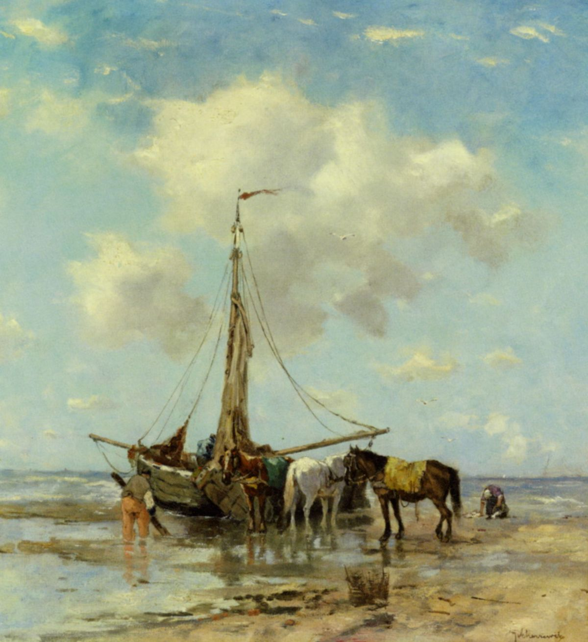 Shellfishers at Low Tide by Johan Frederik Cornelis Scherrewitz