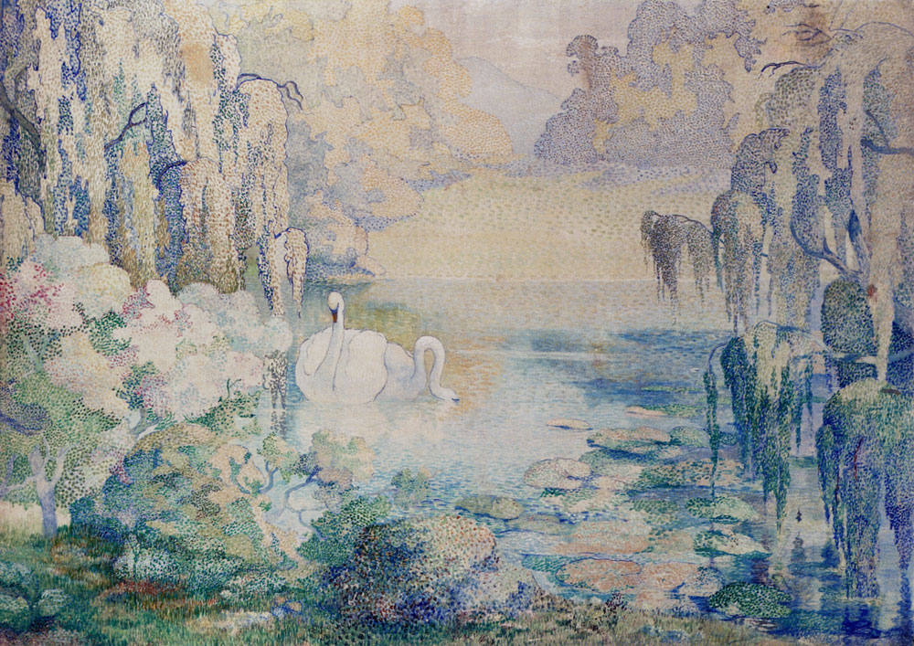 Swans On A Lake by Karl Schneider