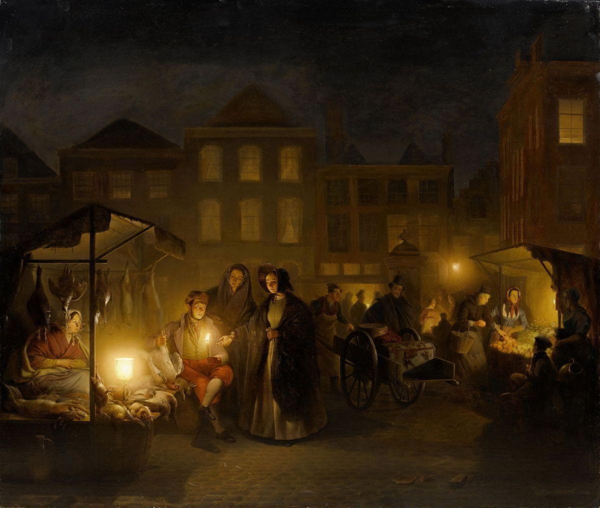 The Evening Market by Petrus Van Schendel
