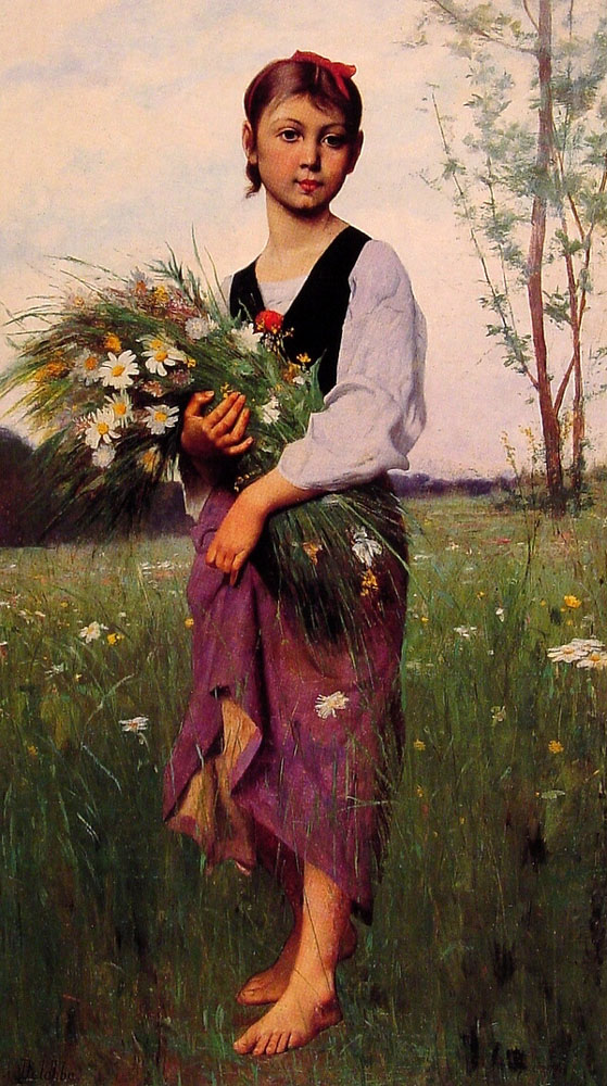 The Flower Picker by Francois Alfred Delobbe