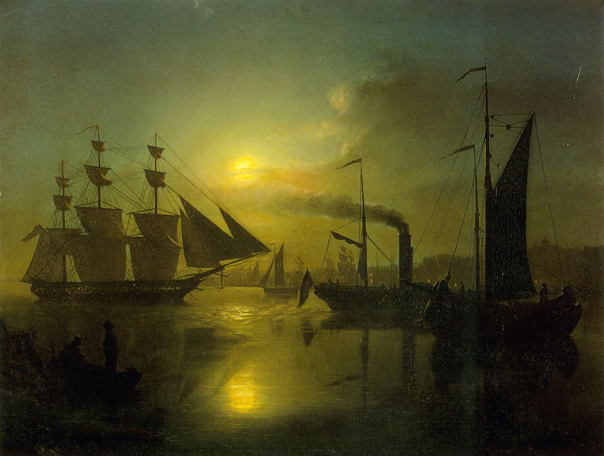 The Moonlit Harbour by Petrus Van Schendel