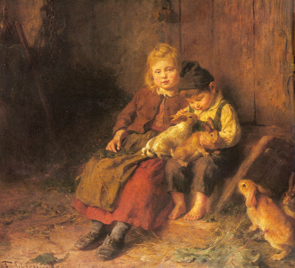Two Children Playing with Rabbits by Felix Schlesinger