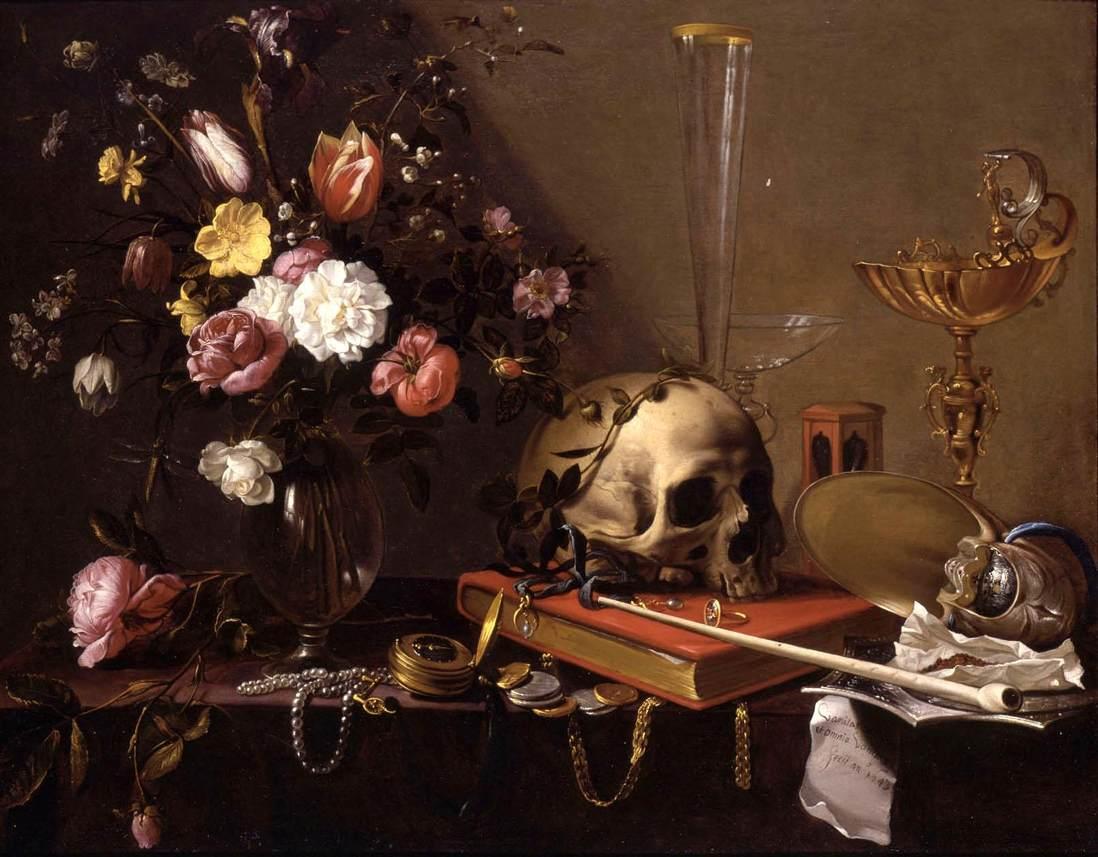Vanitas Still-Life with a Bouquet and a Skull by Adriaen van Utrecht