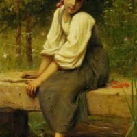 A Moment of Reflection by Francois Alfred Delobbe