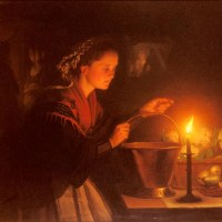 A Market Scene By Candlelight by Petrus Van Schendel