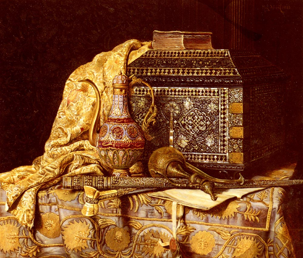 A Still Life With Oriental Objects by Max Schodl