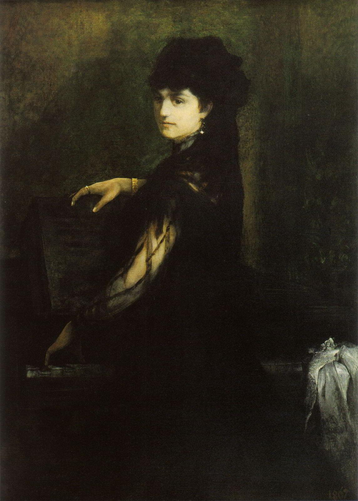 Amalie Makart am Klavier by Hans Makart