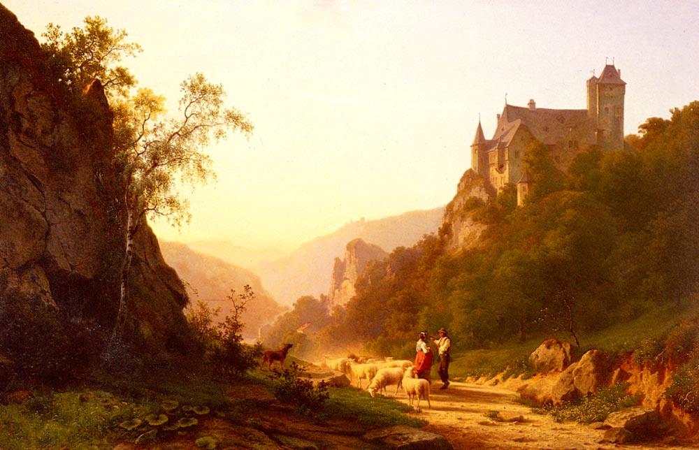 Shepherds In A Landscape by Joseph Jansen