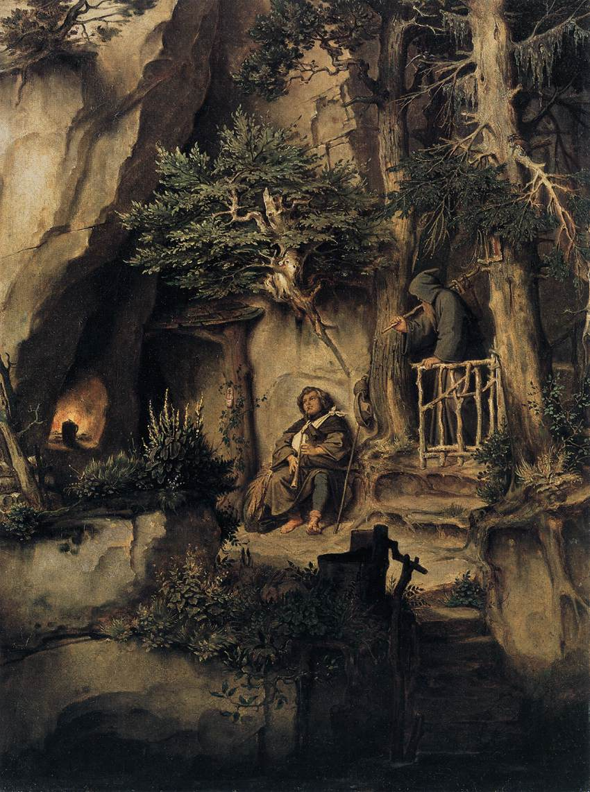 A Player with a Hermit by Moritz von Schwind