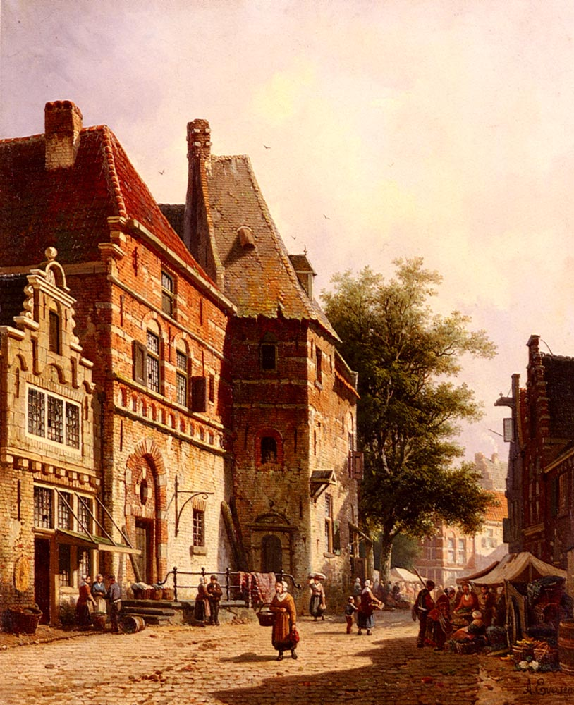 A Sunlit Street On A Market Day by Adrianus Eversen
