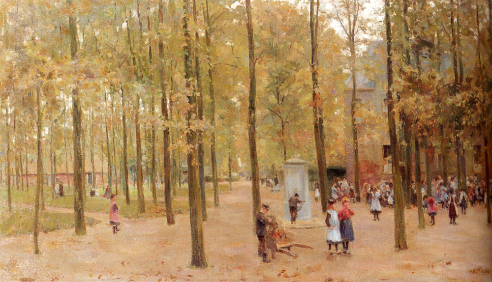 The Brink In Laren With Children Playing by Anton Mauve