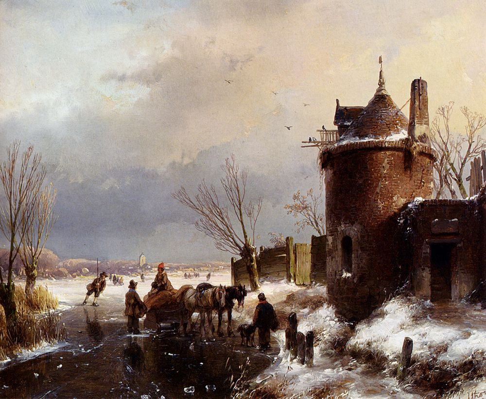 Figures With A Horse Sledge On The Ice, A Town In The Distance by Andreas Schelfhout