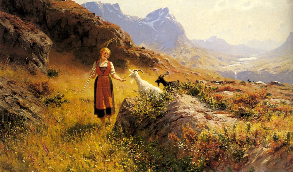 An Alpine Landscape with a Shepherdess and Goats by Hans Dahl
