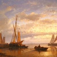 Dutch Fishing Vessels In A Calm At Sunset by Abraham Hulk Snr