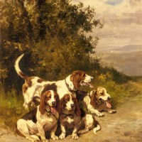 Hunting Dogs on a Forest Path by Charles Olivier De Penne