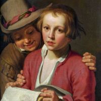 Two Boys Singing from Sheet of Paper by Abraham Bloemaert