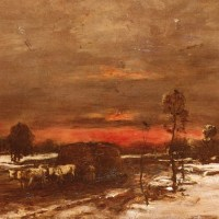 A Winter Landscape at Sunset by Mihaly Munkacsy