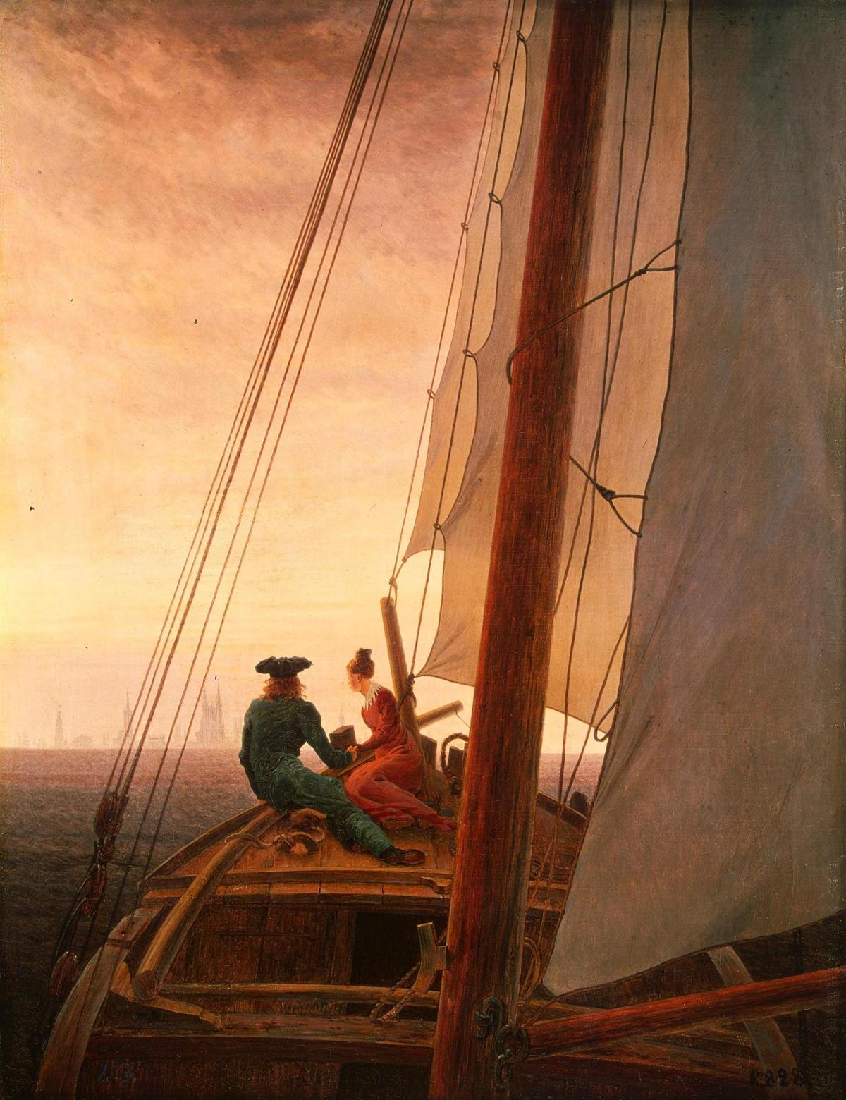 On board a Sailing Ship by Caspar David Friedrich