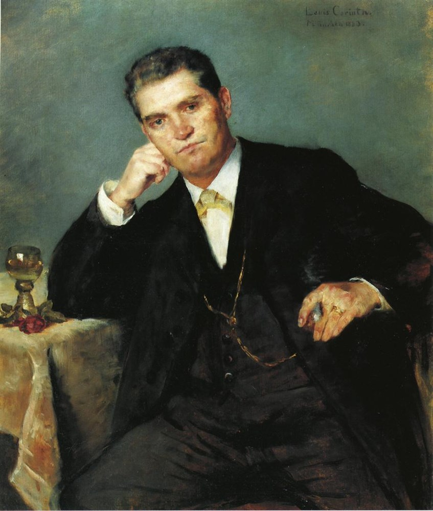 Portrait of Franz Heinrich Corinth with a Glass of Wine by Lovis Corinth