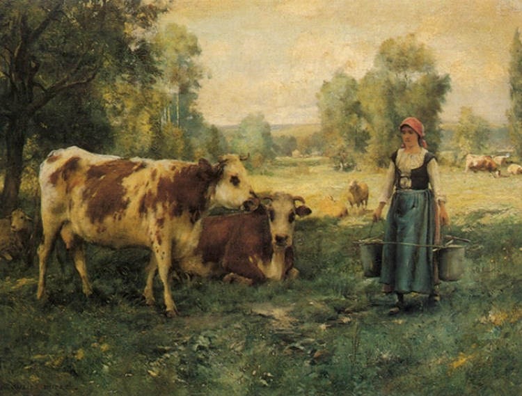 A Milk Maid with Cows and Sheep by Julien Dupre